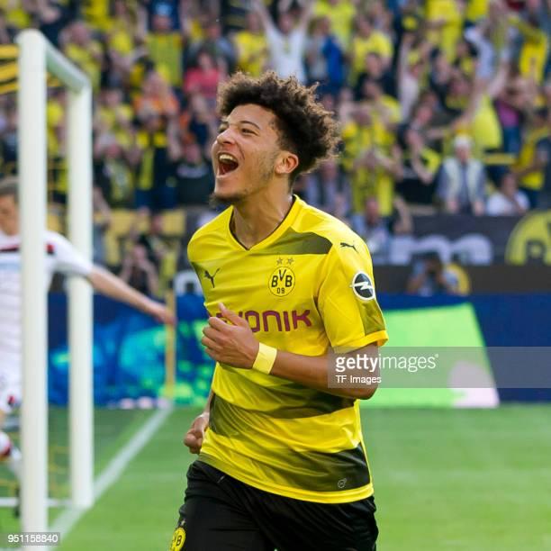 Jadon Sancho of Dortmund celebrates after scoring his team`s first goal during the Bundesliga match between Borussia Dortmund and Bayer 04 Leverkusen...