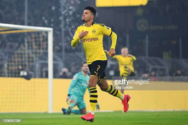 Jadon Sancho of Dortmund celebrates his team's second goal during the Bundesliga match between Borussia Dortmund and Eintracht Frankfurt at Signal...