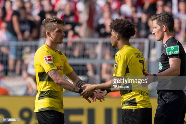 Jadon Sancho of Dortmund comes on as a substitute for Maximilian Philipp of Dortmund during the Bundesliga match between Borussia Dortmund and VfB...