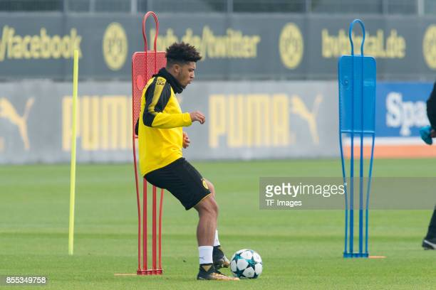 Jadon Sancho of Dortmund controls the ball during a training session at the BVB Training center on September 24 2017 in Dortmund Germany