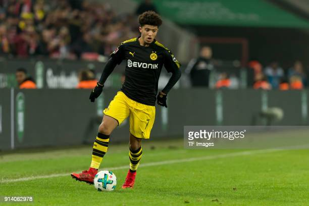 Jadon Sancho of Dortmund controls the ball during the Bundesliga match between 1 FC Koeln and Borussia Dortmund at RheinEnergieStadion on February 2...