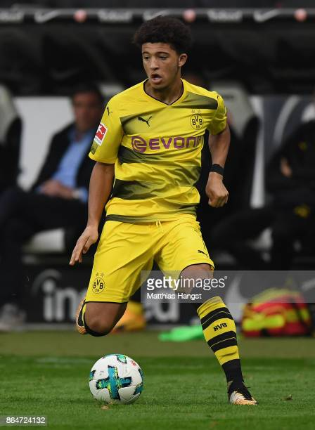 Jadon Sancho of Dortmund controls the ball during the Bundesliga match between Eintracht Frankfurt and Borussia Dortmund at CommerzbankArena on...