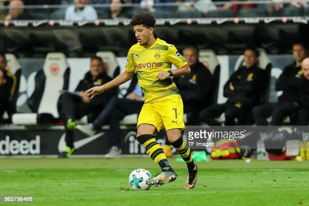Jadon Sancho of Dortmund controls the ball during the Bundesliga match between Eintracht Frankfurt and Borussia Dortmund at CommerzbankArena on...