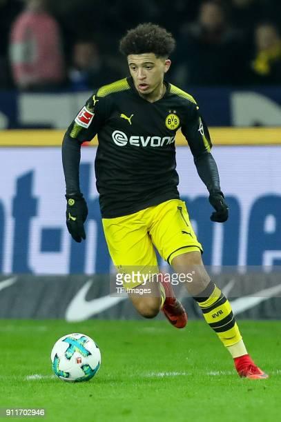 Jadon Sancho of Dortmund controls the ball during the Bundesliga match between Hertha BSC and Borussia Dortmund at Olympiastadion on January 19 2018...