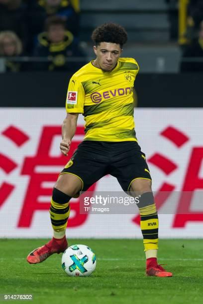 Jadon Sancho of Dortmund controls the ball during the Bundesliga match between Borussia Dortmund and SportClub Freiburg at Signal Iduna Park on...