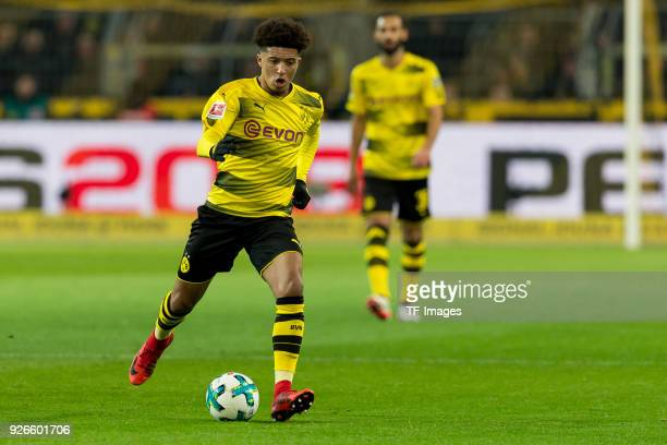 Jadon Sancho of Dortmund controls the ball during the Bundesliga match between Borussia Dortmund and VfL Wolfsburg at Signal Iduna Park on January 14...