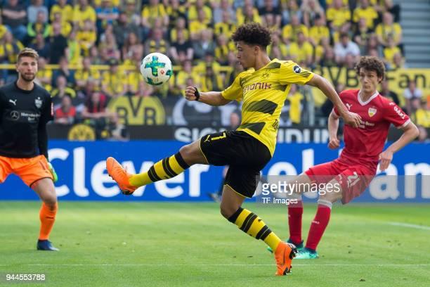 Jadon Sancho of Dortmund controls the ball during the Bundesliga match between Borussia Dortmund and VfB Stuttgart at Signal Iduna Park on April 8...