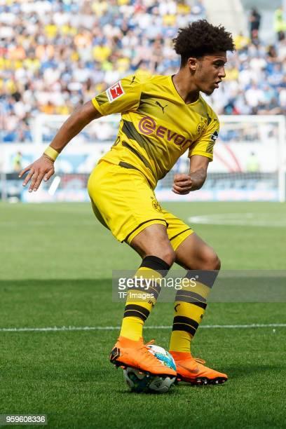 Jadon Sancho of Dortmund controls the ball during the Bundesliga match between TSG 1899 Hoffenheim and Borussia Dortmund at Wirsol RheinNeckarArena...