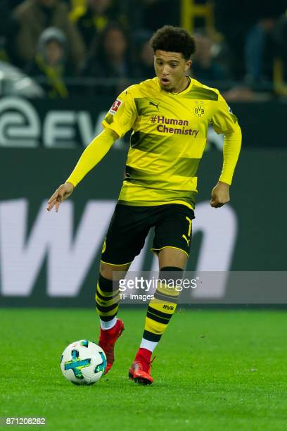 Jadon Sancho of Dortmund controls the ball during the German Bundesliga match between Borussia Dortmund v Bayern Munchen at the Signal Iduna Park on...