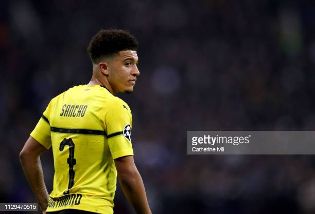 Jadon Sancho of Dortmund during the UEFA Champions League Round of 16 First Leg match between Tottenham Hotspur and Borussia Dortmund at Wembley...