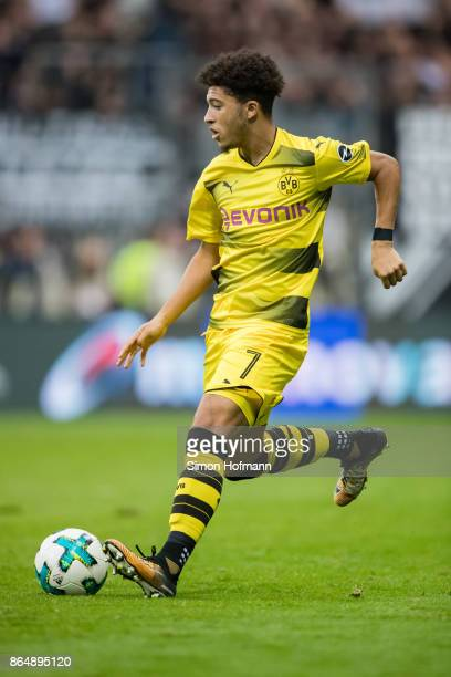 Jadon Sancho of Dortmund in action during the Bundesliga match between Eintracht Frankfurt and Borussia Dortmund at CommerzbankArena on October 21...