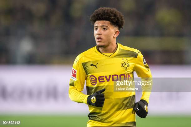 Jadon Sancho of Dortmund in action during the Bundesliga match between Borussia Dortmund and VfL Wolfsburg at Signal Iduna Park on January 14 2018 in...