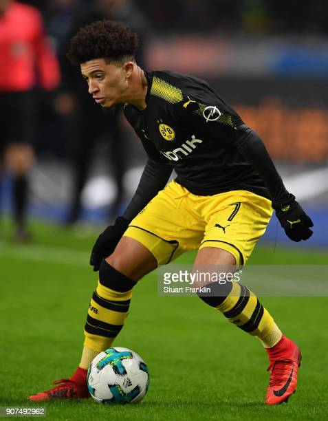 Jadon Sancho of Dortmund in action during the Bundesliga match between Hertha BSC and Borussia Dortmund at Olympiastadion on January 19 2018 in...