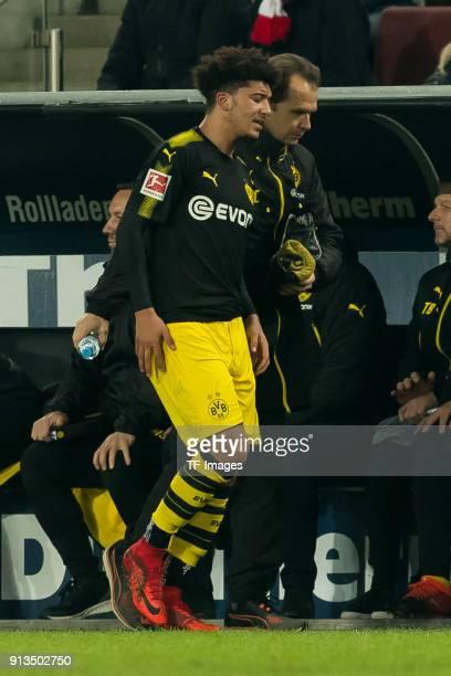 Jadon Sancho of Dortmund injured during the Bundesliga match between 1 FC Koeln and Borussia Dortmund at RheinEnergieStadion on February 2 2018 in...