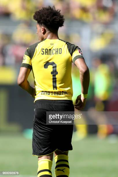 Jadon Sancho of Dortmund is seen during the Bundesliga match between Borussia Dortmund and 1 FSV Mainz 05 at Signal Iduna Park on May 5 2018 in...