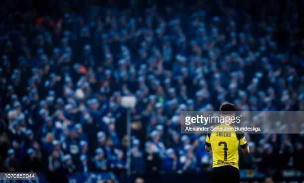 Jadon Sancho of Dortmund is seen in front of the Schalke fans during the Bundesliga match between FC Schalke 04 and Borussia Dortmund at VeltinsArena...