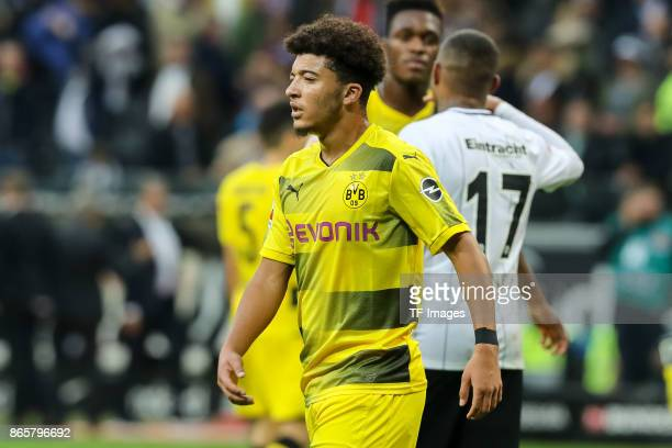 Jadon Sancho of Dortmund looks on after the Bundesliga match between Eintracht Frankfurt and Borussia Dortmund at CommerzbankArena on October 21 2017...