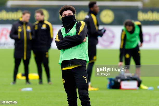 Jadon Sancho of Dortmund looks on during a training session at BVB trainings center on November 5 2017 in Dortmund