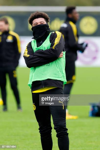 Jadon Sancho of Dortmund looks on during a training session at BVB trainings center on November 5 2017 in Dortmund