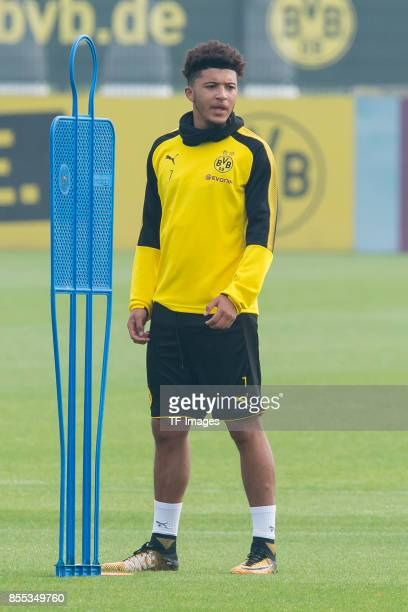 Jadon Sancho of Dortmund looks on during a training session at the BVB Training center on September 24 2017 in Dortmund Germany