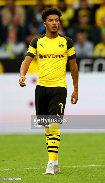 Jadon Sancho of Dortmund looks on during the ball during the Bundesliga match between Borussia Dortmund and RB Leipzig at Signal Iduna Park on August...
