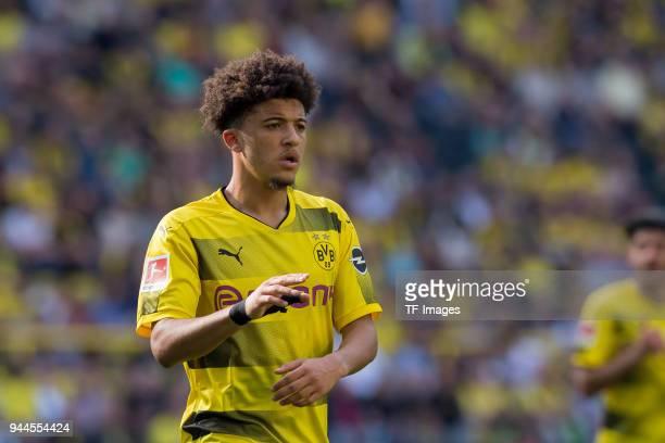 Jadon Sancho of Dortmund looks on during the Bundesliga match between Borussia Dortmund and VfB Stuttgart at Signal Iduna Park on April 8 2018 in...