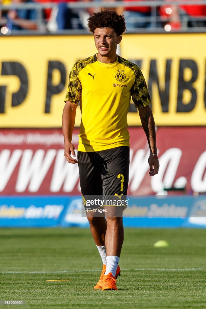 Jadon Sancho of Dortmund looks on during the Friendly Match match between FSV Zwickau and Borussia Dortmund at Stadion Zwickau on May 14, 2018 in Zwickau, Germany.