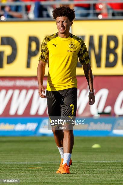 Jadon Sancho of Dortmund looks on during the Friendly Match match between FSV Zwickau and Borussia Dortmund at Stadion Zwickau on May 14 2018 in...