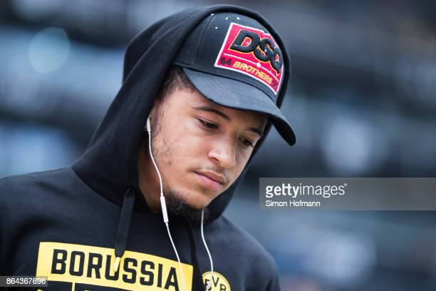 Jadon Sancho of Dortmund looks on prior to the Bundesliga match between Eintracht Frankfurt and Borussia Dortmund at CommerzbankArena on October 21...