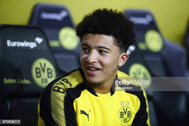 Jadon Sancho of Dortmund looks on prior to the Bundesliga match between Borussia Dortmund and FC Bayern Muenchen at Signal Iduna Park on November 4...
