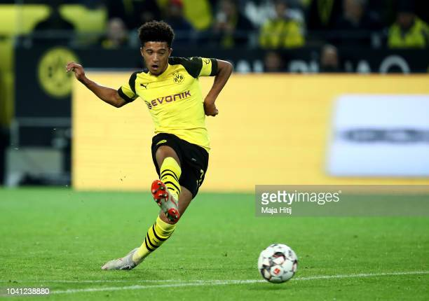 Jadon Sancho of Dortmund scores the 6th goal during the Bundesliga match between Borussia Dortmund and 1 FC Nuernberg at Signal Iduna Park on...