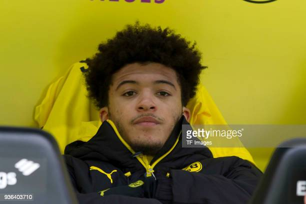 Jadon Sancho of Dortmund sits on the bench prior to the Bundesliga match between Borussia Dortmund and Hannover 96 at Signal Iduna Park on March 18...