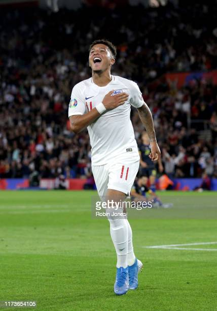 Jadon Sancho of England celebrates after he scores a goal to make it 41 during the UEFA Euro 2020 qualifier match between England and Kosovo at St...