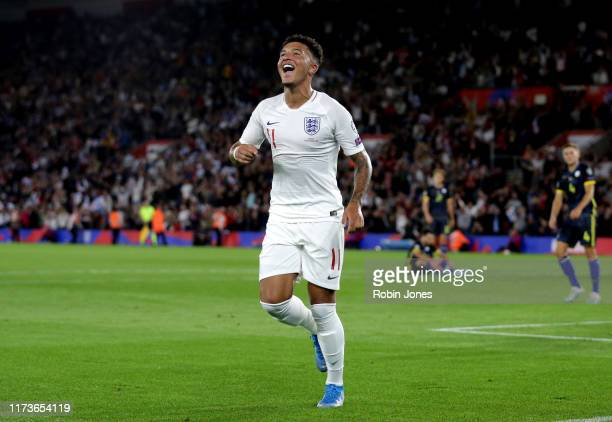 Jadon Sancho of England celebrates after he scores a goal to make it 4-1 during the UEFA Euro 2020 qualifier match between England and Kosovo at St....