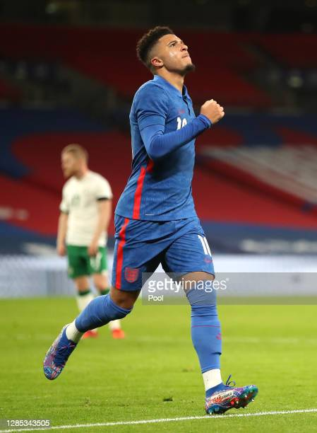 Jadon Sancho of England celebrates after he scores his team's second goal during the international friendly match between England and the Republic of...