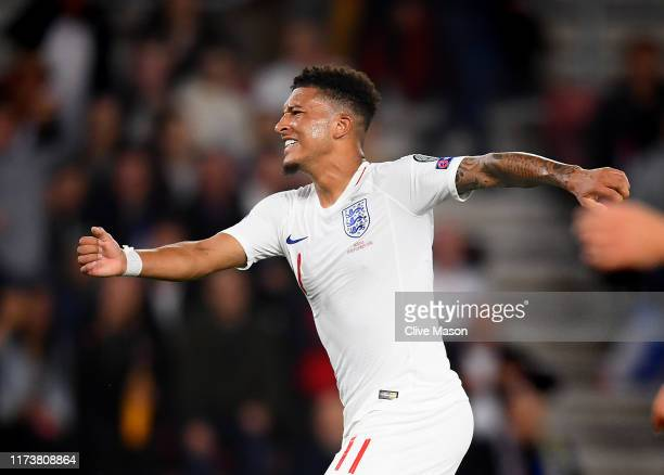 Jadon Sancho of England celebrates after scoring a goal during the UEFA Euro 2020 qualifier match between England and Kosovo at St Mary's Stadium on...
