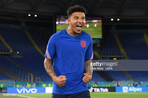 Jadon Sancho of England celebrates following victory in the UEFA Euro 2020 Championship Quarter-final match between Ukraine and England at Olimpico...