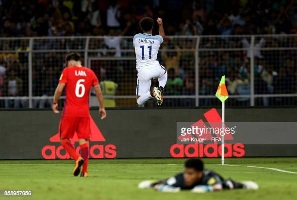 Jadon Sancho of England celebrates his goal during the FIFA U17 World Cup India 2017 group F match between Chile and England at Vivekananda Yuba...