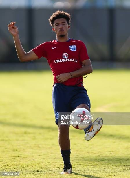 Jadon Sancho of England controls the ball during a training session ahead of the FIFA U17 World Cup India 2017 tournament at Kolkata 2 Training...