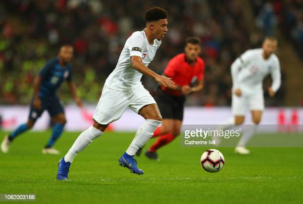 Jadon Sancho of England during the International Friendly match between England and United States at Wembley Stadium on November 15 2018 in London...