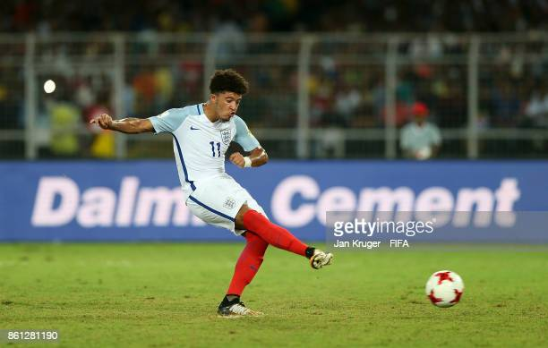 Jadon Sancho of England has his penalty attempt save during the FIFA U17 World Cup India 2017 group F match between England and Iraq at Vivekananda...