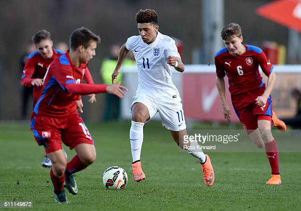 Jadon Sancho of England in action during the England v Czech Republic U16s International Friendly at St Georges Park on February 18 2016 in...