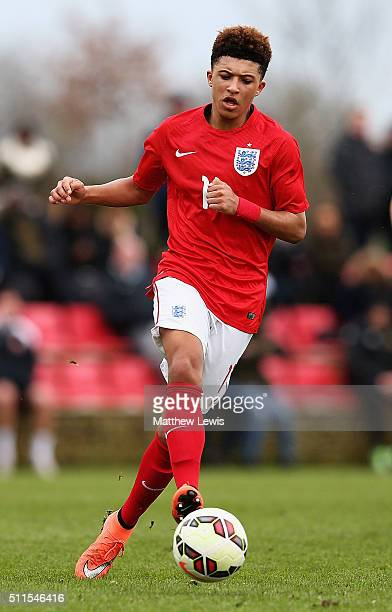 Jadon Sancho of England in action during the U16s International Friendly match between England U16 and Italy U16 at St Georges Park on February 21...