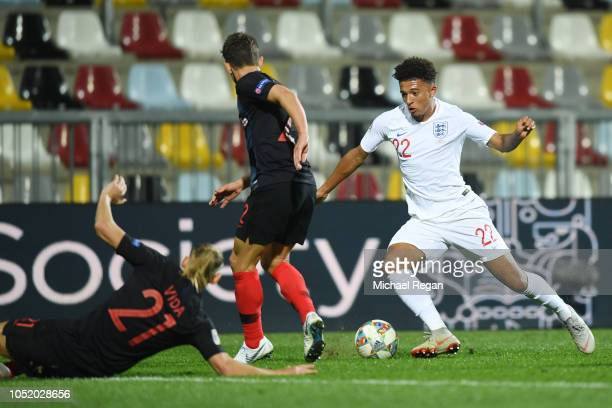 Jadon Sancho of England in action during the UEFA Nations League A group four match between Croatia and England at on October 12 2018 in Rijeka...