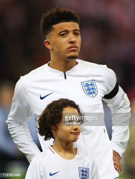 Jadon Sancho of England lines up for the national anthem prior to the 2020 UEFA European Championships Group A qualifying match between England and...