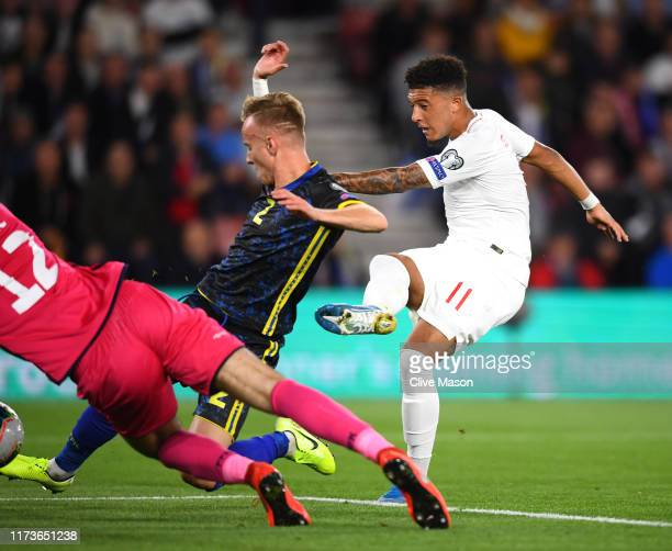 Jadon Sancho of England scores his sides fourth goal during the UEFA Euro 2020 qualifier match between England and Kosovo at St Mary's Stadium on...