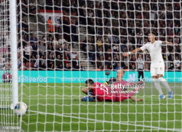 Jadon Sancho of England scores the fourth goal during the UEFA Euro 2020 qualifier match between England and Kosovo at St Mary's Stadium on September...