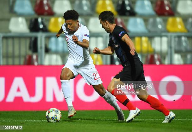Jadon Sancho of England takes on Josip Pivaric of Croatia during the UEFA Nations League A Group Four match between Croatia and England at Stadion...