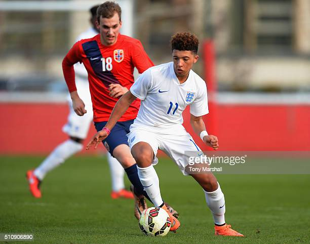 Jadon Sancho of England U16 during the U16s International Friendly match between England U16 and Norway U16 at St Georges Park on February 16 2016 in...