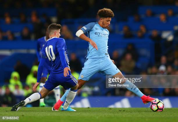 Jadon Sancho of Manchester City and Mason Mount of Chelsea in action during the FA Youth Cup Final second leg between Chelsea and Mancherster City at...